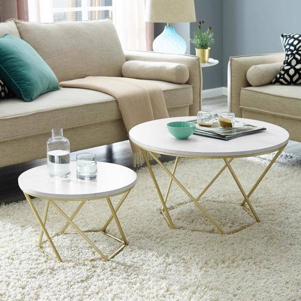 Walker Edison Furniture Company Modern Nesting Coffee Table
