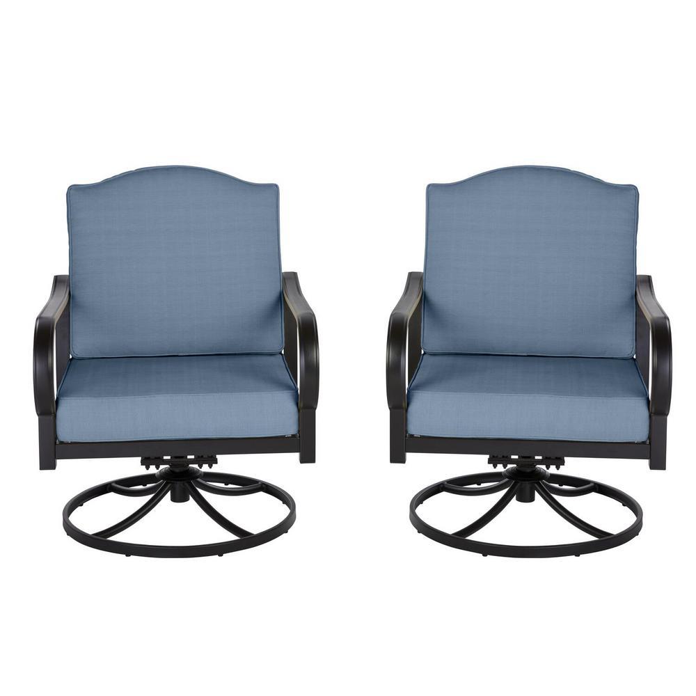Laurel Oaks Brown Steel Outdoor Patio Lounge Chair with Sunbrella Denim Blue Cushions (2-Pack)