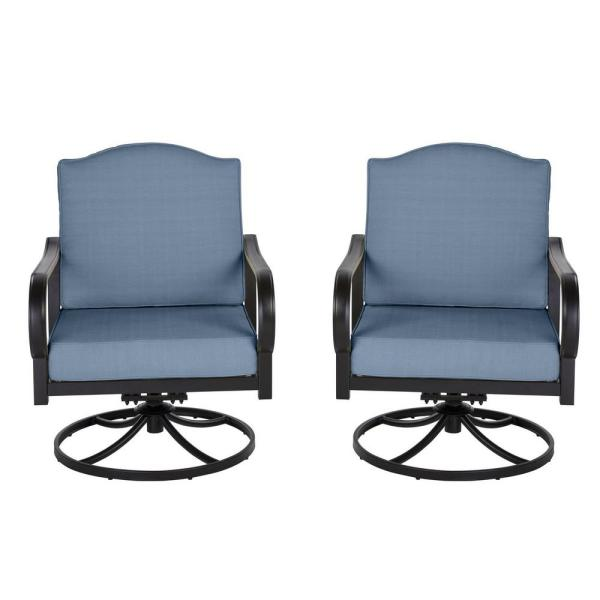 Laurel Oaks Brown Steel Outdoor Patio Lounge Chair with Sunbrella Denim Blue Cushions (2-Pack)