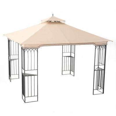 Fence 10 ft. x 10 ft. Beige Steel Soft Top Gazebo