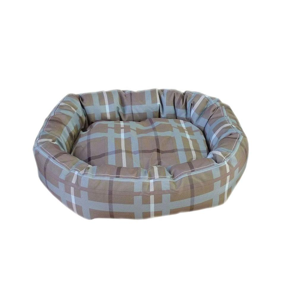 Carolina Pet Company Brutus Tuff Comfy Cup Small Blue/Brown Plaid Bed-DISCONTINUED