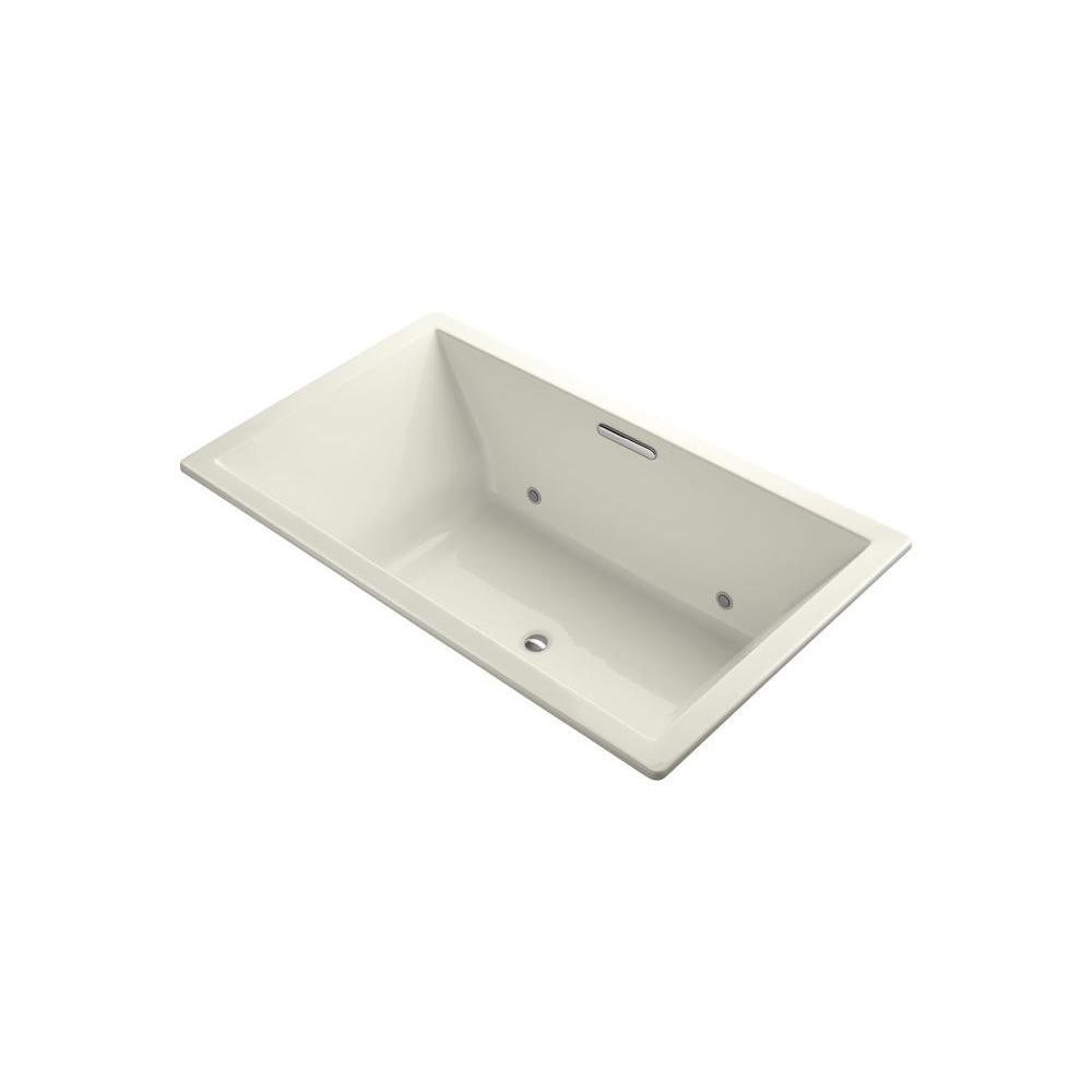 KOHLER Underscore VibrAcoustic 6 ft. Rectangle Center Drain Bathtub in Biscuit with Chromotherapy