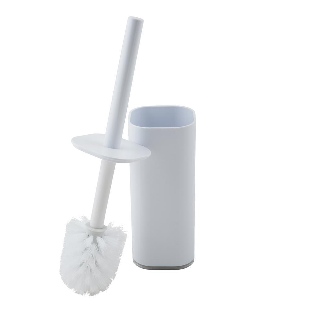 Acrylic Cylinder Plastic Toilet Brush Set In White