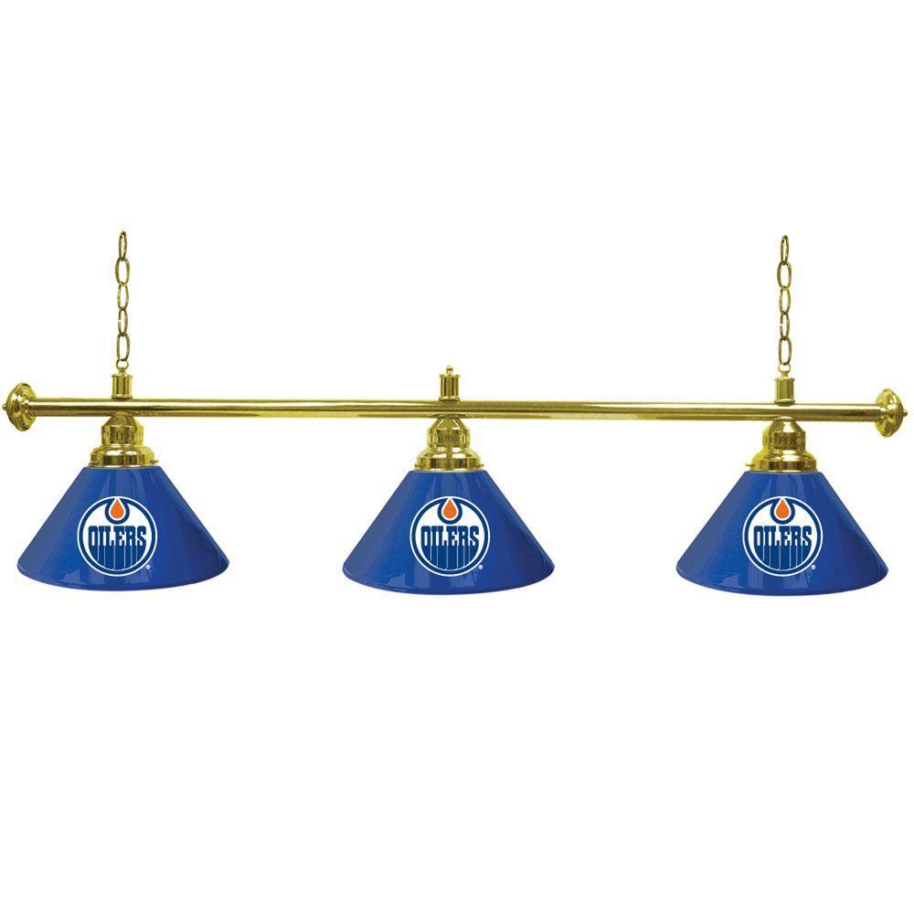Trademark Global NHL Edmonton Oilers 60 in. Three Shade Gold Hanging Billiard Lamp