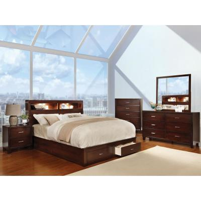 Gerico II E.King Bed In Brown Cherry Finish