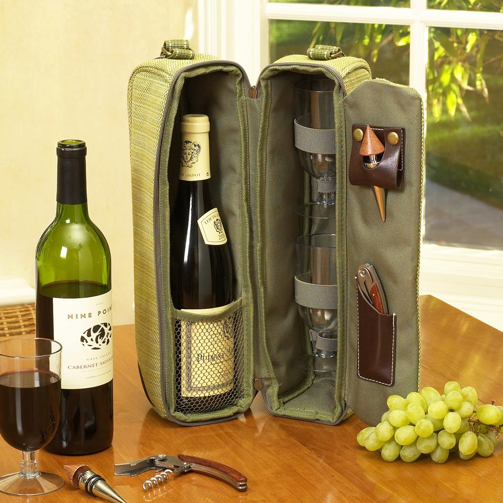 Sunset Hamptons Green Wine Tote for 2 with Glasses