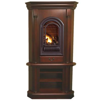 42 in. Corner Ventless Liquid Propane Gas Tower Fireplace in Cherry