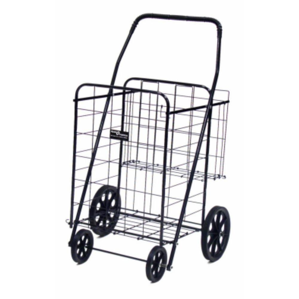 Easy Wheels Jumbo Plus Shopping Cart in Black The Easy Wheels Jumbo Plus Shopping Cart has been the industry's premier cart with industrial strength for home use. When lying down, with the cart folded, the highest measurement is the wheels with a 9.75 in. Dia giving an incredible amount of convenience in a compact size. This model has an extra basket for additional storage. Color: Black.