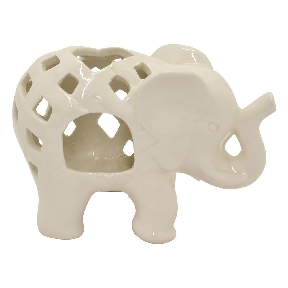 White Ceramic Elephant Candle Holder