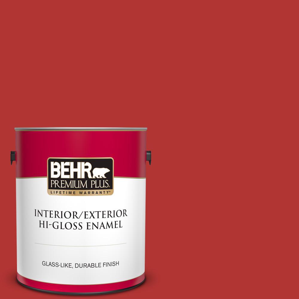 Behr Premium Plus 1 Gal 170b 7 Red Tomato Hi Gloss Enamel Interior Exterior Paint 830001 The Home Depot