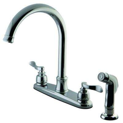 Designer 2-Handle Standard Kitchen Faucet with Side Sprayer in Polished Chrome