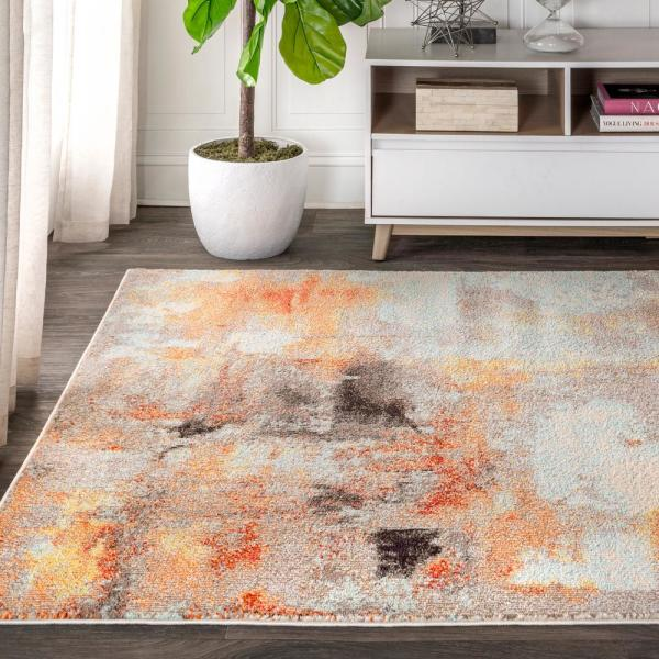 Jonathan Y Contemporary Pop Modern Abstract Vintage Cream Orange 5 Ft X 8 Ft Area Rug Ctp104b 5 The Home Depot
