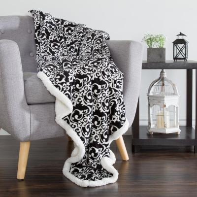 Black and White Polyester Throw Blanket