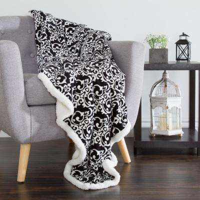 Black and White Fleece Sherpa Throw