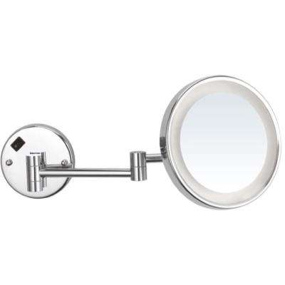 Glimmer 8 in. x 8 in. Wall Mounted LED 5x Round Makeup Mirror in Chrome Finish