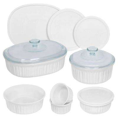 French White 12-Piece Ceramic Bakeware Set