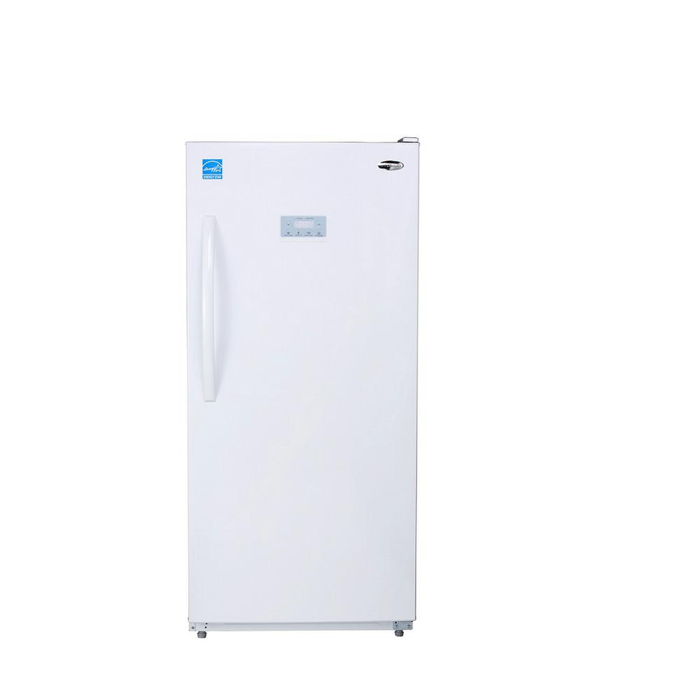Premium 13 8 Cu Ft Frost Free Upright Freezer In White Pfv1375mw The Home Depot