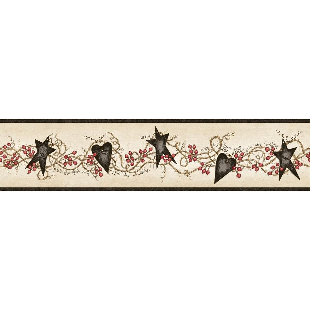 Chesapeake paxton black tin hearts and stars wallpaper for Wallpaper borders for your home