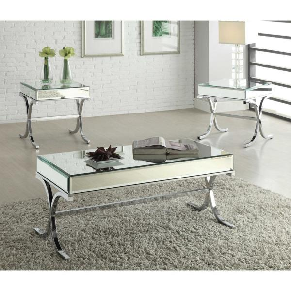 Amelia Mirrored Top & Chrome Metal X-shape End Table