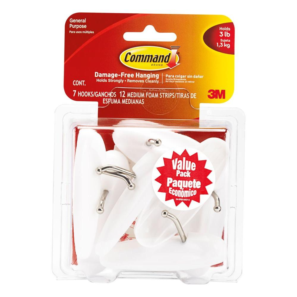 3m Medium White Wire Hooks Value Pack 7 Hooks With 12 Adhesive