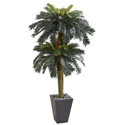 Indoor 6 ft. Double Sago Palm Artificial Tree Slate Finished Planter