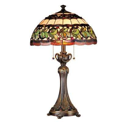 26 in. Aldridge Antique Gold Bronze Finish Table Lamp with Tiffany Art Glass Shade