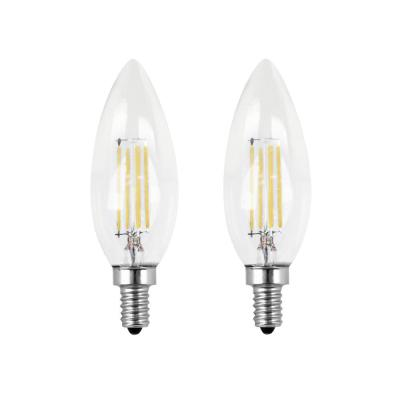 60-Watt Equivalent B10 Candelabra Dimmable Filament CEC Clear Glass Chandelier LED Light Bulb, Daylight (2-Pack)