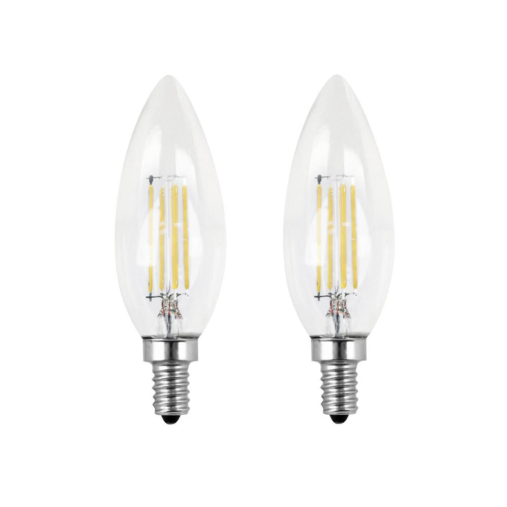 Feit Electric 60-Watt Equivalent B10 Candelabra Dimmable Filament CEC LED ENERGY STAR Clear Glass Light Bulb, Daylight (2-Pack)