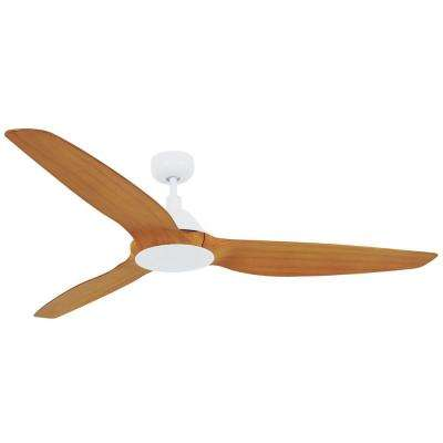 Type A White and Teak 60 in. DC Ceiling Fan