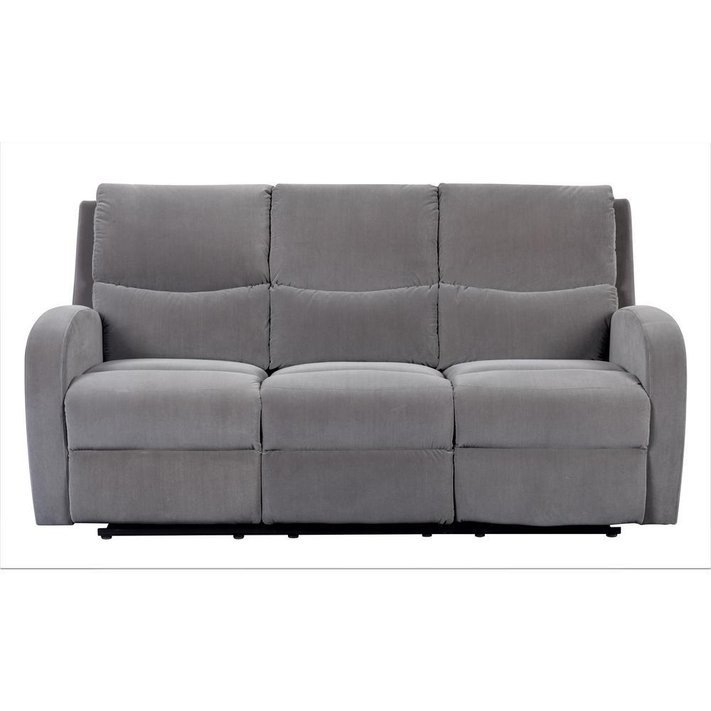 Louis 3-Seat Grey Velvet Reclining Sofa