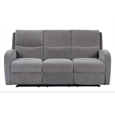 Louis 72.5 in. Grey Velvet 3-Seater Lawson Reclining Sofa with Slope Arms