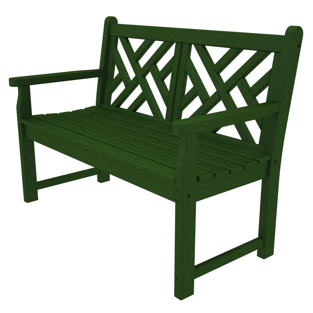 POLYWOOD Chippendale 48 in. Green Patio Bench