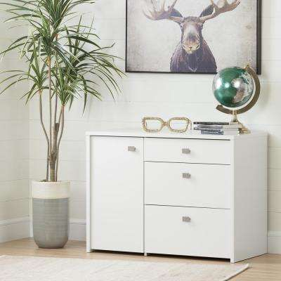 Interface Pure White Storage Unit Cabinet with File Drawer