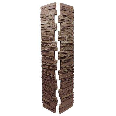 Slatestone Brunswick Brown 8 in. x 8 in. x 41 in. Faux Polyurethane Stone Post Cover (2-Piece)