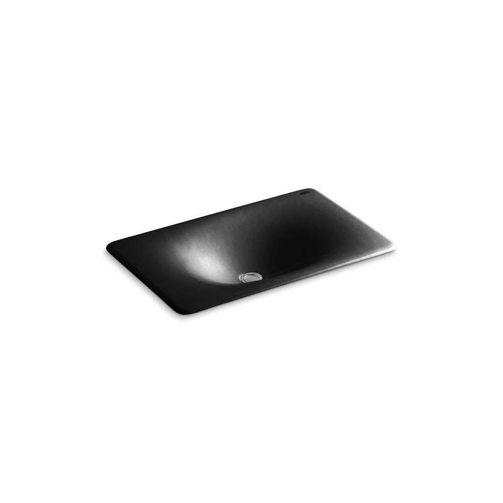 KOHLER Iron/Tones Undermount Bathroom Sink in Black Black-DISCONTINUED