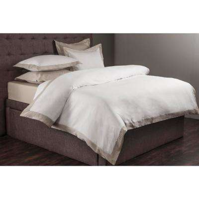 Morgan White and Champagne Queen Duvet Set