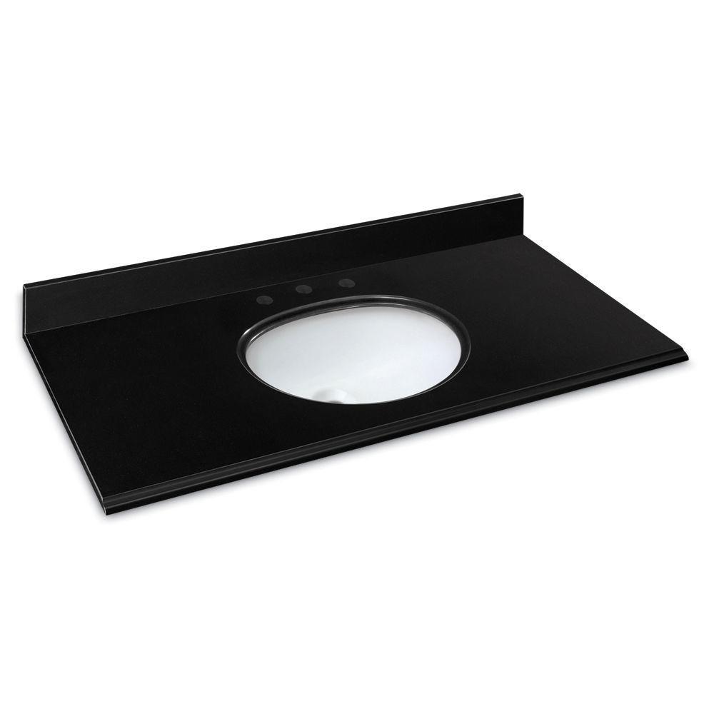 49 in. W Granite Vanity Top in Midnight Black with White Basin