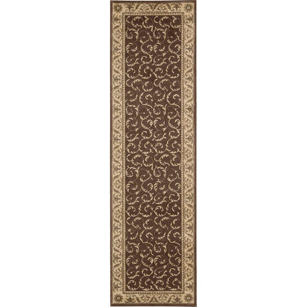 nourison somerset brown 2 ft 3 in x 8 ft rug runner 047861 the home depot. Black Bedroom Furniture Sets. Home Design Ideas