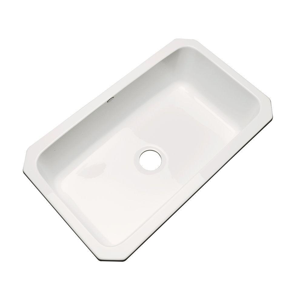 Thermocast Manhattan Undermount Acrylic 33 in. Single Basin Kitchen Sink in Biscuit