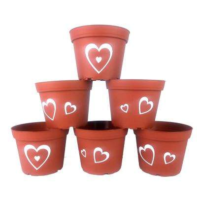 6 in. Hearts Plastic Pots Terra Cotta (6-Pack)