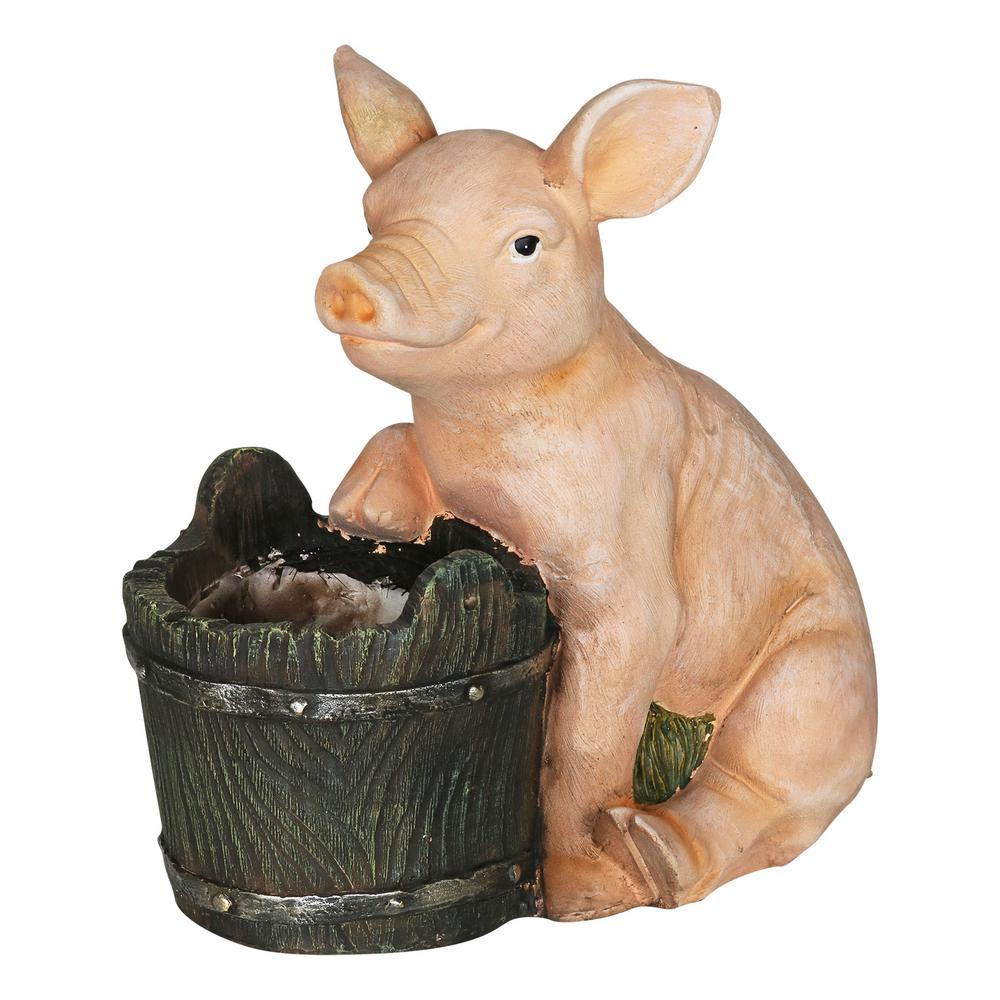 Exhart Pig and Bucket 4.3 in. Dia Pink Resin Pot