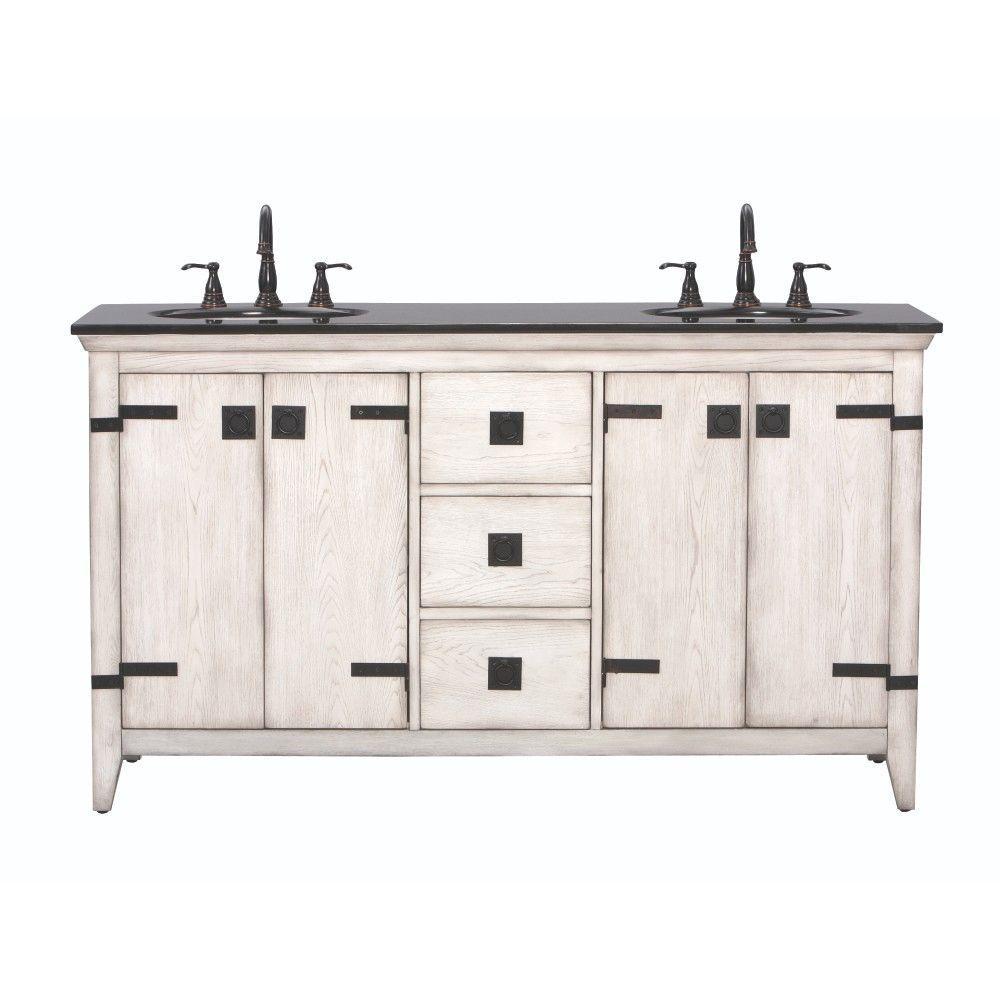 Home Decorators Collection Glenwood 61 in. Vanity in Distressed White with Granite Vanity Top in Black