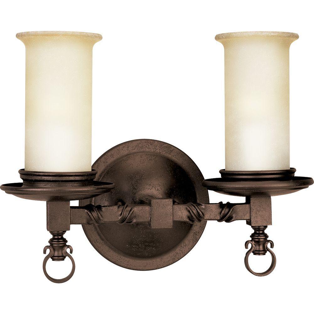 Progress Lighting Santiago Collection 2-Light Roasted Java Vanity Fixture