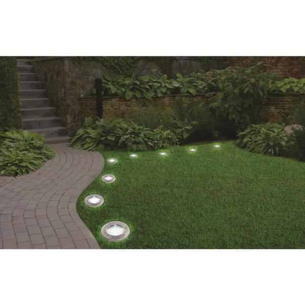 Bell Howell Solar Powered Stainless Steel Outdoor Integrated Led Super Bright In Ground Path Disk Lights 4 Per Box 1998 The Home Depot