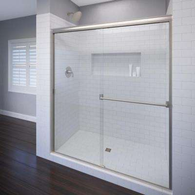 Classic 44 in. x 65-1/2 in. Semi-Frameless Sliding Shower Door in Brushed Nickel