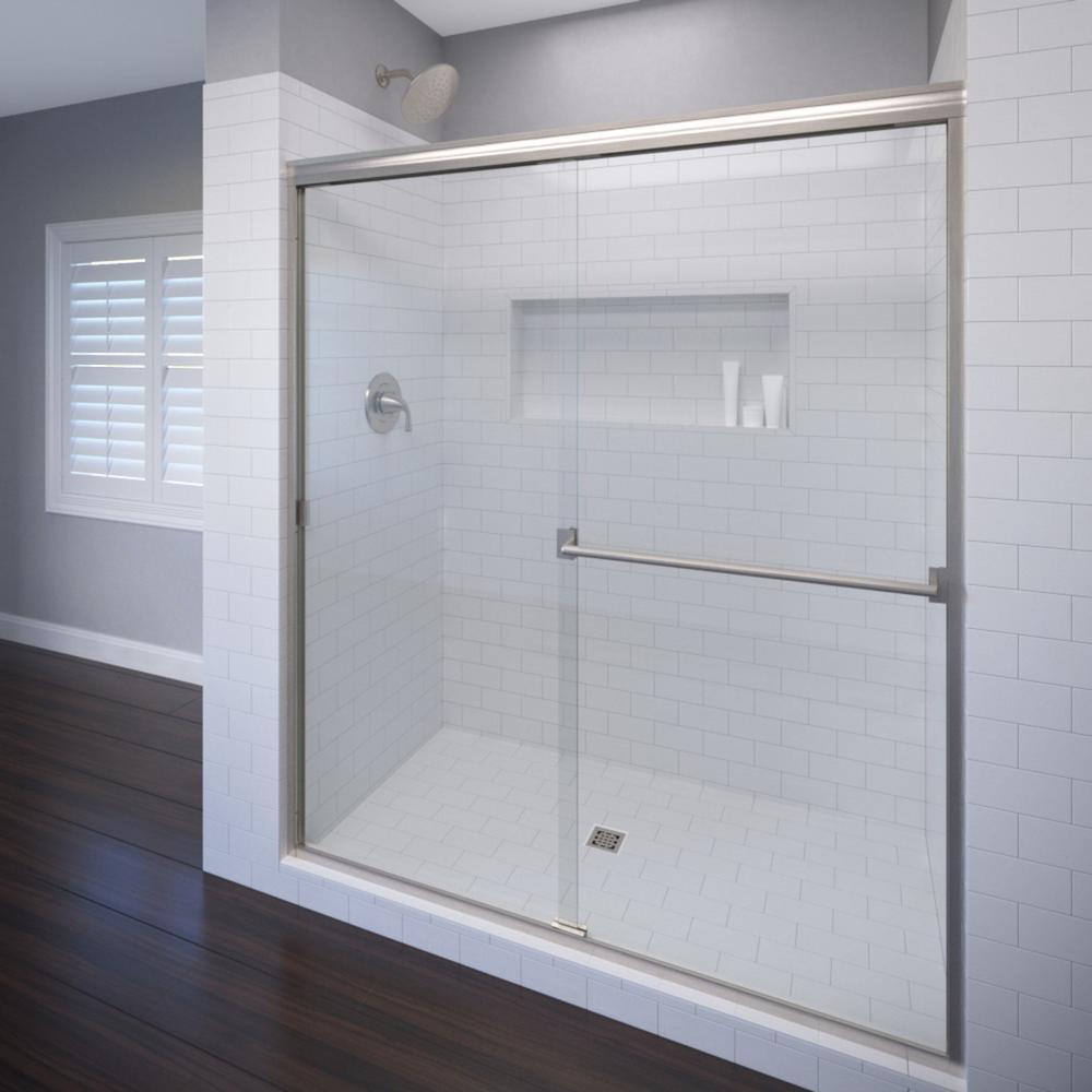 Basco Classic 44 in. x 65-1/2 in. Semi-Frameless Sliding Shower Door in Brushed Nickel