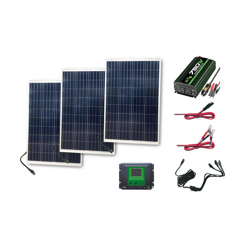 1050-Watt Power Kit: 300 Watts of Solar, 750 Watt Inverter and 30 Amp Charge Controller
