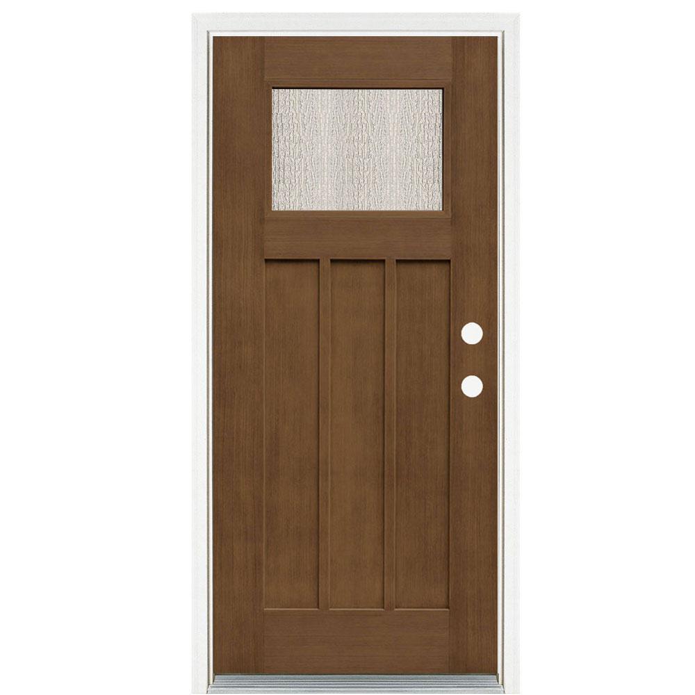 36 in. x 80 in. Medium Oak Left-Hand Inswing Water Wave Craftsman Stained Fiberglass Prehung Front Door