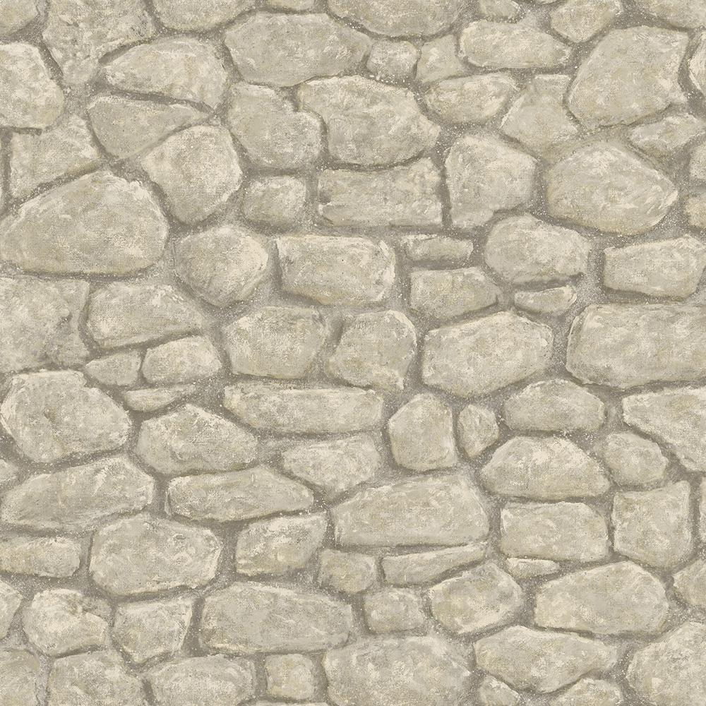 Chesapeake camelot grey faux boundary stone wallpaper