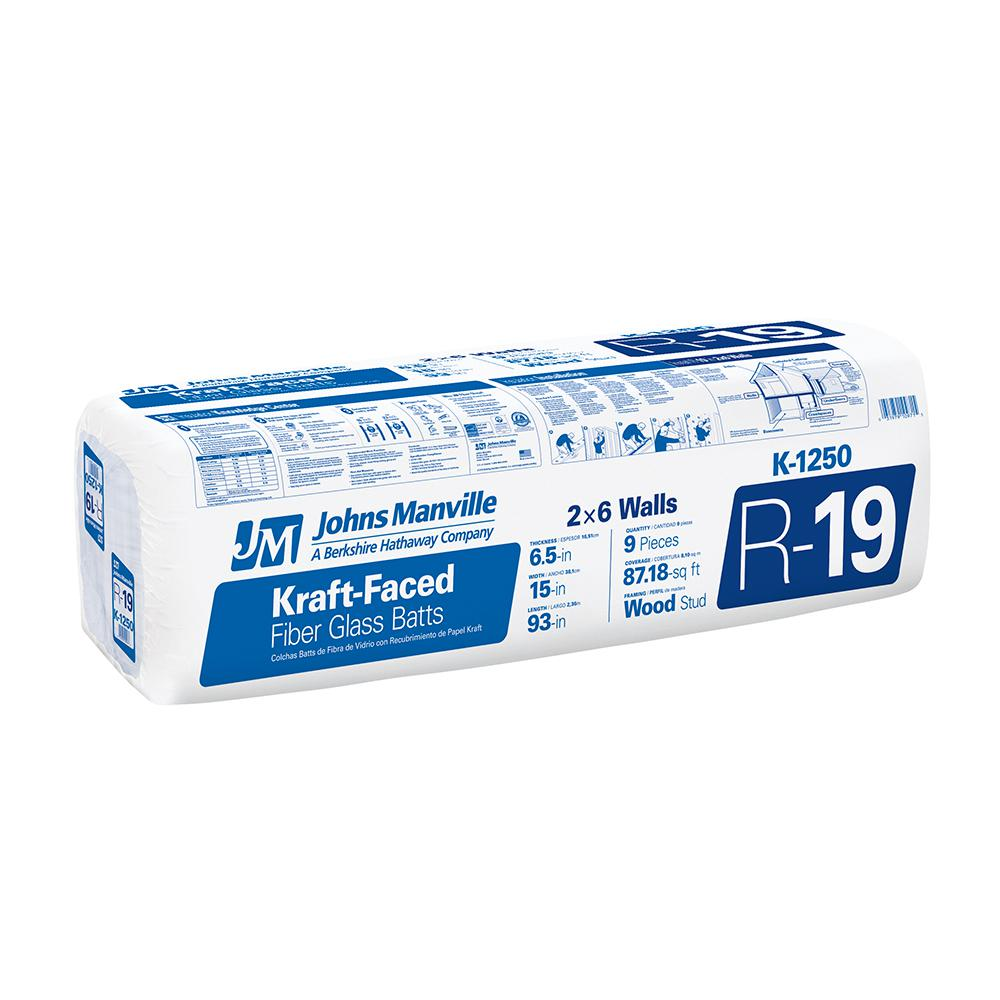 R-19 Kraft Faced Fiberglass Insulation Batt 15 in. x 7.75 ft.